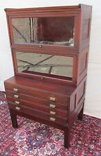 RARE RAISED PANEL BARRISTER BOOKCASE OVER FLAT FILE CABINET BY YAWMAN & FRBE
