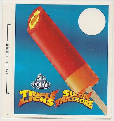 Polar Triple Licks Bar,Ice Cream Truck Decal//Sticker, French: Sucon Tricolore