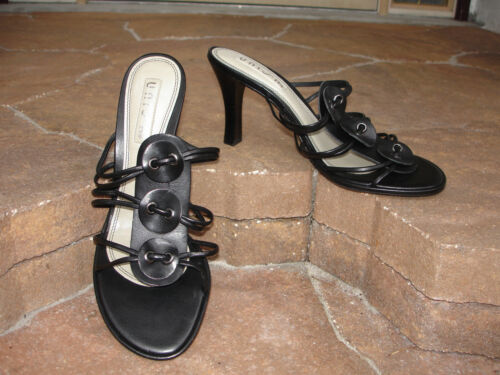 UNISA~BUTTONS~ GENUINE LEATHER OPEN BACK LADIES SHOES~WOMEN/'S SIZE 8 ~BLACK~NEW