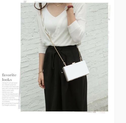 Women Acrylic Clutch Handbag Purse Chain Bag Single Shoulder Bag Metal Frame