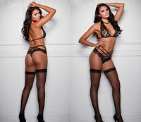 Hot sexy Lace Woman Black Lace temptation Binding lingerie pajamas suit new ZY18