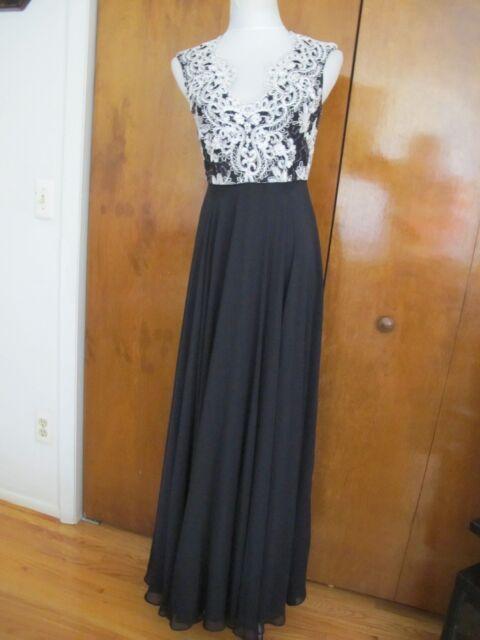 Aidan Mattox Womens Black Embroidered Evening Formal Dress Gown 4