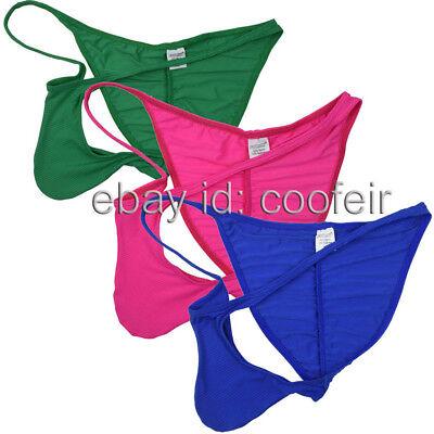 Men Ice Silk Pucker Bikini Briefs Underwear Posing Contoured Pouch Cheeky Shorts