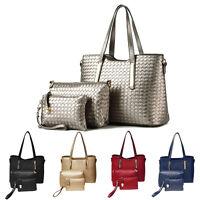 3Pcs Fashion Women's Tote Handbag Shoulder Bags PU Leather Purse Clutch Wallet