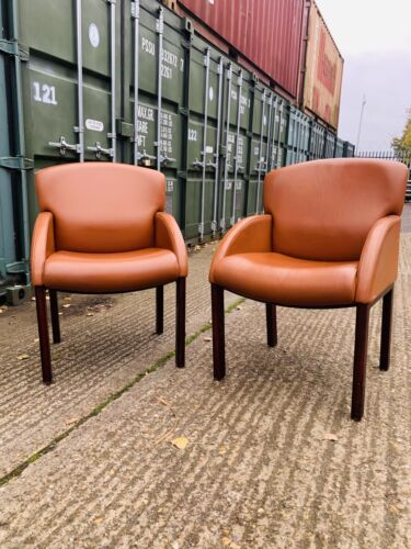 2 Of 2 Vintage Retro Quality Leather Chairs Tan Mustard Office Tub Man Cave