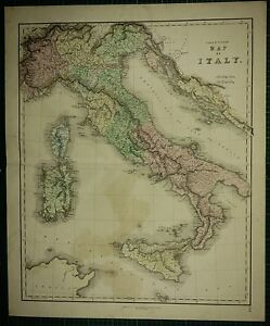 1850 LARGE ANTIQUE HAND COLOURED MAP ITALY SARDINIA TUSCANY