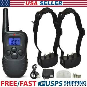 Dog-Pet-Electric-Shock-Training-2-Collar-Waterproof-Rechargeable-330Yard-Remote