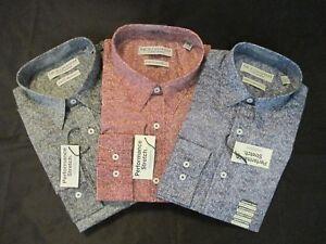 Men/'s Nick Graham Modern-Fit Stretch Dress Shirt Denim Look NEW Ships FREE!