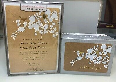 50 Wedding Invite Invitation Kit Thank You Cards Country Gold Bird Print At Home Ebay
