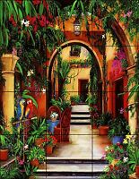 "Mexico Spanish Style Ceramic Tile Wall Art Mural Décor Backsplash 18"" X 24"""