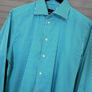 ETON-Contemporary-Fit-100-Cotton-Dress-Shirt-Teal-Stripe-Men-039-s-16-5-42