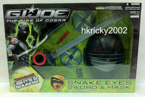 Hasbro G. I. Joe Rise of Cobra Snake Eyes Role Play Sword & Mask w  Ninja Stars