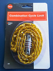 YELLOW-GOLD-BIKE-LOCK-RETRO-COMBINATION-BICYCLE-COMBO-CYCLE-GATE-SIGN-SECURITY