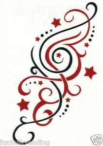 red black star swirl design metallic temporary tattoo sexy sparkle made usa ebay. Black Bedroom Furniture Sets. Home Design Ideas