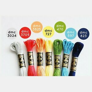 New-DMC-Floss-Bold-Rainbow-7-Skeins-Free-Shipping