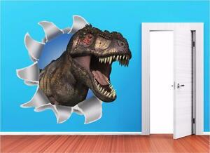Image is loading Dinosaur-Ripped-Wall-T-Rex-Kids-3D-Wall- & Dinosaur Ripped Wall T-Rex Kids 3D Wall Art Sticker Decal Full ...