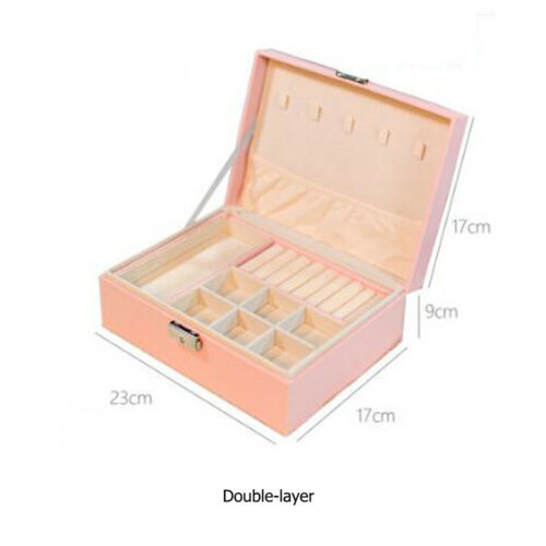 Double Layer Pu Leather Jewelry Box Organizer Case Large Storage Necklace Ring