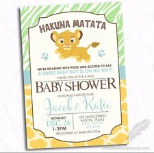 Lion King Simba Baby Shower Invitations / Safari Animals Jungle PRINTED