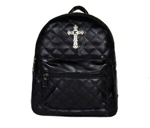 GOTHX-METAL-CROSS-Black-Quilted-Mini-Backpack-Rucksack-Steam-Punk-Rock-Goth-Bag