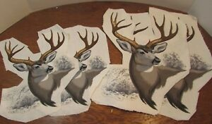 WILDLIFE-DEER-WHITETAIL-APPLIQUE-Fabric-Vintage-2-SIZES