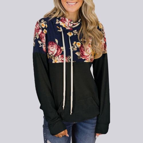 Women Floral Hoodie Hooded Sweater Long Sleeve Casual Sweatshirt Pullover Top US