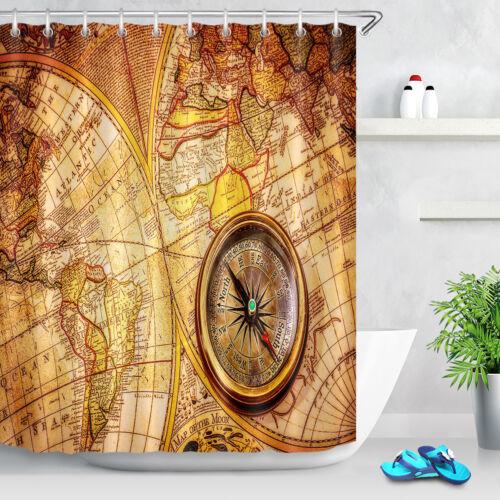 72x72/'/' vintage Still Life Boussole salle de bains Tissu Rideau de douche Set de 12 crochets