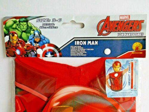 """3-6Jahre // 95-125cm Oberteil und Maske /""""Iron Man/"""" Marvel Party Pack"""