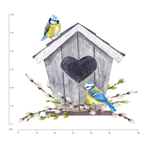 Love Heart Birdhouse Blue Birds Wall Sticker WS-47305