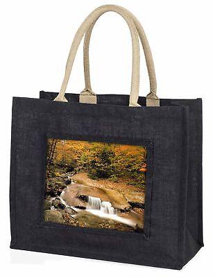 Herbst Wasserfall große schwarze Einkaufstasche Weihnachten Geschenkidee, w-4blb