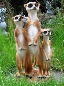 Erdmaennchen-Familie-Figur-Gartenfigur-39-cm-Garten-Erdmaennchenfamilie-TOP-NEU