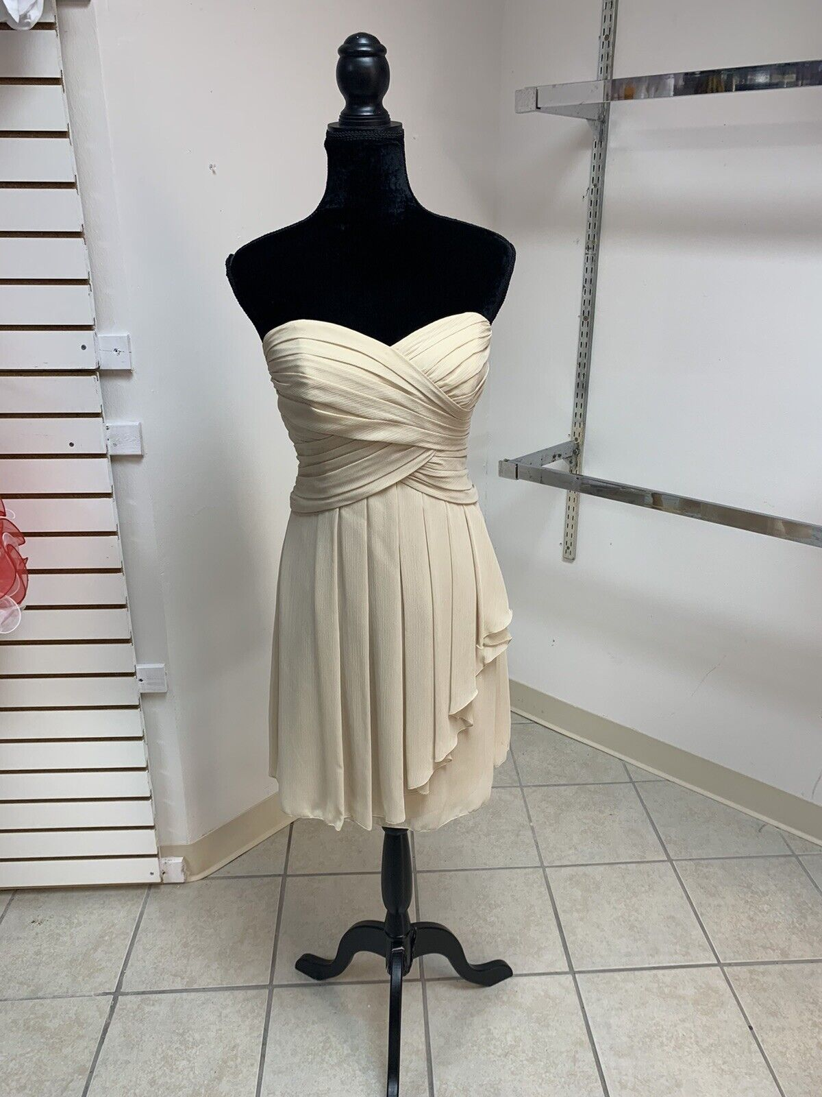 Size 2 Khaki Beige Prom Party Homecoming Bridesmaid Formal Cocktail Dress