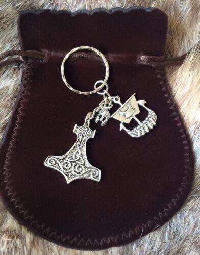 Viking Keyring Norse Rune Gift For Him Raven Thor/'s hammer drinking horn man
