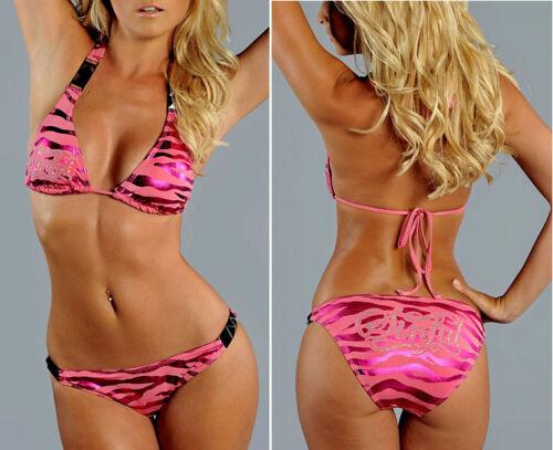 Sinful by Affliction ZEBRA FOIL Women/'s Swimwear Bikini Pink NEW S1648