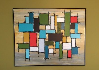 Large Mid Century Modern Abstract Art Acrylic Painting