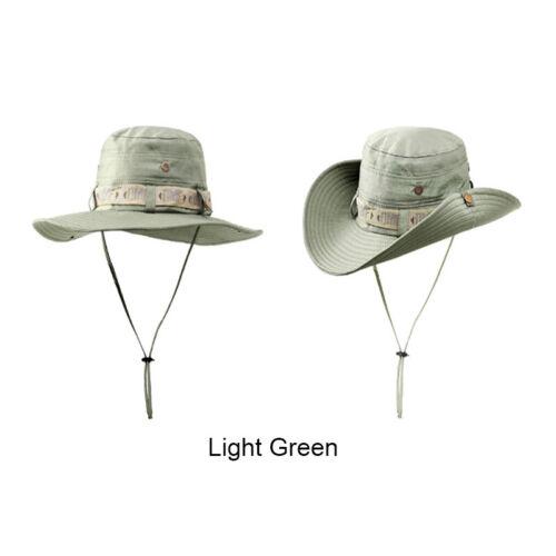 Outdoor Fishing Bucket Boonie Hat Cotton Hunting Wide Brim Unisex Safari Sun Cap