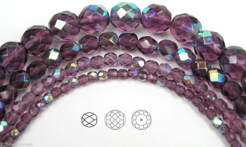 """purple 16/"""" Czech Fire Polished Round Faceted Glass Beads in Amethyst AB coated"""