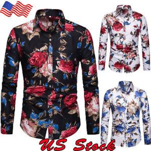 Fashion-Men-039-s-Summer-Casual-Dress-Shirt-Mens-Floral-Long-Sleeve-Shirts-Tops-Tee