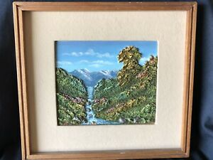 Clay Artwork of Landscape With River With Frame, Colored,7.5 In X 6.10 Art