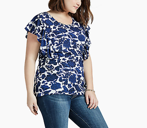 LUCKY-BRAND-WOMEN-039-S-BLUE-WHITE-FLORAL-PRINT-FLUTTER-SHORT-SLEEVE-TOP-PLUS-Sz-1X