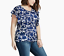 LUCKY-BRAND-WOMEN-039-S-BLUE-WHITE-FLORAL-PRINT-FLUTTER-SHORT-SLEEVE-TOP-PLUS-Sz-1X thumbnail 1