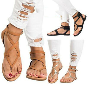 1ecb63010 Women Flip Flops Sandals Casual Summer Cross Strap Open Toe Flat ...
