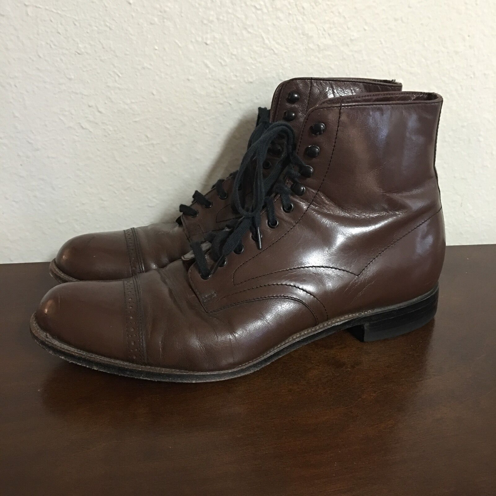 Stacey Adams Men's Boots Chocolate Brown Steampunk Size 8.5 US