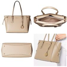 87bc1fc1cc6e0d Michael Kors Voyager Medium Top Zip Multifunction Leather Tote Oat Gold