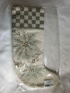 Mackenzie-Childs-WHITE-POINSETTIA-Check-BEADED-Christmas-Stocking-NEW-98-m19-n