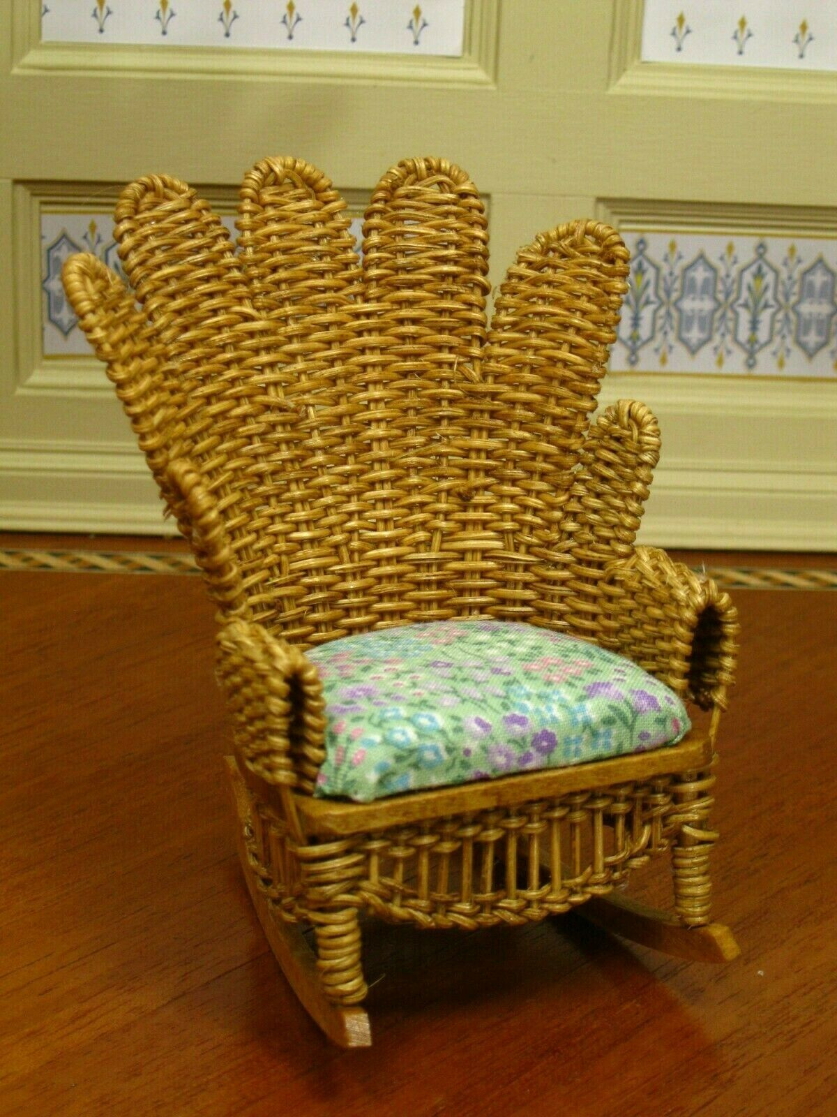 BJR Natural Wicker Rocking Chair Upholsterot Artisan Dollhaus Miniature