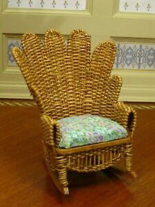 Wondrous Details About Bjr Natural Wicker Rocking Chair Upholstered Artisan Dollhouse Miniature Spiritservingveterans Wood Chair Design Ideas Spiritservingveteransorg