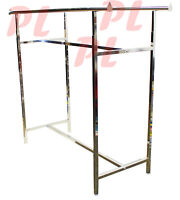 Double Parallel Bar Clothes Garment Retail Display Rack Adjustable Height 48-72