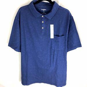 Goodfellow-amp-Co-Mens-Polo-Shirt-Size-3XB-3XL-Big-Blue-Cotton-Short-Sleeves-NWT