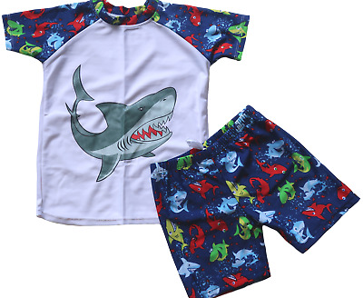 Size 2 NWT Boy/'s Speedo Shark Craze Suntop Rashie Rash Shirt RRP $50.00.