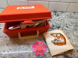 Vintage-UpBeat-Instant-Hair-Setter-Curlers-Orange-Case-Flower-Mirror-Up-Beat-EUC